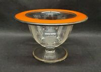 Art Deco Glass Etched Compote With Orange And Silver Rim