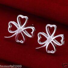 Boucles d'oreilles plaque Argent 925 motif:trèfle à quatre feuilles