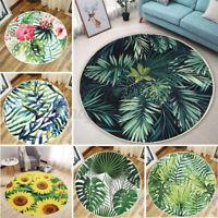 Tropische Palme Blatt Blumenmuster Kaktus Rund Teppiche Fußmatte Wohnraum