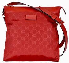 Gucci #510342 GG Red Nylon Canvas Zip Top Medium Messenger Bag, NWT