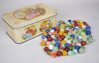 Lot of 100 Vintage Estate Hand Made Marbles Played
