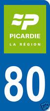 1 Sticker plaque immatriculation AUTO adhésif département 80 logo vert