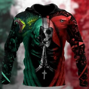Mexico Coat of Arms Hoodie Eagle Mexican Pride - Skull Hoodie 3D For Men Unisex