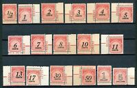 USAstamps Unused US Postage Due Mostly Plate # Singles Set Scott J89-J104 OG MNH