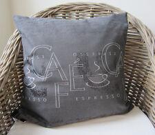 #10199 Kissenhülle Kissen 50x50cm Cafe Espresso Stickerei Grau Weiß Elegant Edel