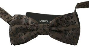 DOLCE & GABBANA Bow Tie Men Brown Brocade Silk Adjustable Neck Butterfly