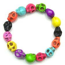 Multi Colore teschio braccialetti elasticizzati cjb175
