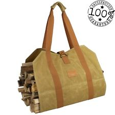Firewood Log Carrier Bag - Waxed Canvas Wood Bag - Fireplace Accessories