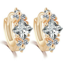 Womens Stunning Charm Zircon 9K Gold Plated Hoop Eardrop Huggie Earrings Jewelry