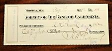 VINTAGE EPHEMERA - 1901 Agency of The Bank Of California Check SAVAGE MINING CO