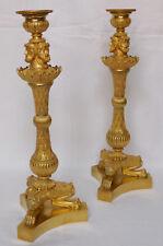Paire de bougeoirs flambeaux EMPIRE, bronze DORE AU MERCURE époque début XIXe