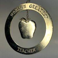 EUC Kurt Adler Pewter Ornament World's Greatest Teacher Dangling Apple Gift