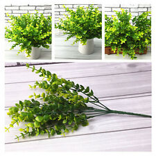 7 Branches Green Artificial Plastic Silk Eucalyptus Plant Leaf Flower Home Decor