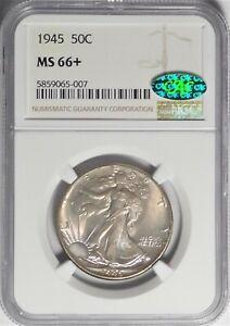 1945 50c NGC MS 66+ CAC Gem Plus Uncirculated Walking Liberty Half Dollar Coin