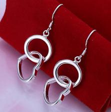 Womens Sterling Silver Love Heart Hoop Drop Dangle Fashion Earrings #EA52