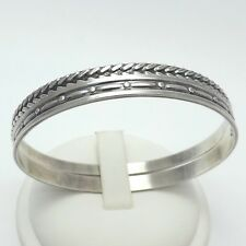 Sterling Silver Vintage MJ Metro Creative Foxtail PAIR Slip-On Bangle Bracelets