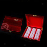 2x Coin Holder Display Box Case Wooden for 46mm Coins/Medals 30 pcs Storage