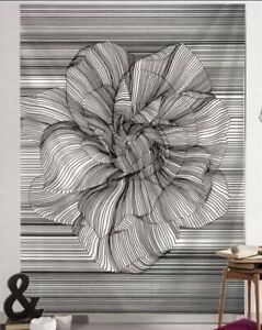 """NEW 60""""x40"""" 3D Trippy Black & White Lined Rose Tapestry Wall Decor"""