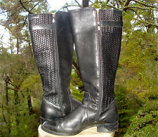 Ariat PLYMOUTH Black Leather Boot Woven Knee High Equestrian Fashion Womens 11
