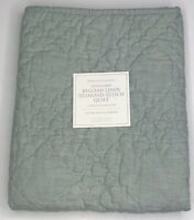 NEW Restoration Hardware Belgian Linen Diamond-Stitch Quilt, $59 - Silver Sage