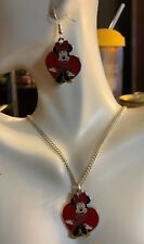 """Minnie Mouse Charm Necklace Pendant & Earrings 16"""" Silver Plated, Gift Boxed,USA"""