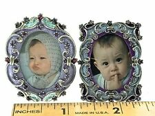 Mini Picture Frames LAV Decorative Crystals  2 Photo Frames Collectible Luxury
