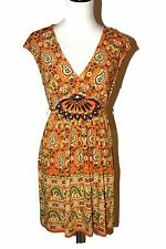 ECI Orange Colorful Print Stretchy Polyester Decorative Beads Sleeveless Dress M