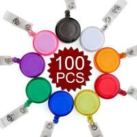 100x Lot Carabiner Badge Holder Retractable Reel Key Chain w/ Belt Clip & Strap