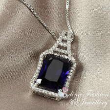 18K White Gold Filled Made With Swarovski Crystal Emerald Cut Sapphire Necklace