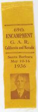 GAR 1936 Santa Barbara California Reunion Ribbon
