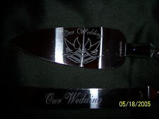 Our Wedding Cake Server Knife Set Doves & Bells Stainless Steel Clear Handle