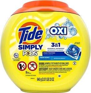 Tide Simply Pods +oxi Liquid Laundry Detergent Pacs Capsules, Refreshing...
