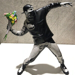 Resin Figurine Banksy Flower Bomber Modern Art Sculpture Statue Collectible