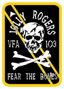 STICKER TOMCAT F14 BADGE BLASON JOLLY ROGERS 103 SQUADRON AIR FORCE JA103