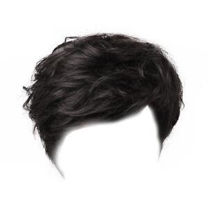 Human Hair Mens Black Toupee Pixie Cut Hair Hairpiece Full Wigs Heat Safe