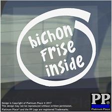 1 x Bichon Frise inside-window, Auto, Furgone, autoadesivo, Firmare, Adesivo, CANE, PET, sul bordo,
