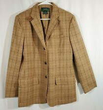 Ralph Lauren Wool Vintage Equestrian Style Blazer Plaid Suede Elbow Patch Sz 12