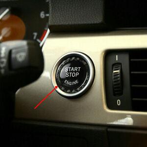 For BMW E90 E92 E93 Z4 Carbon Fiber Black Car Engine Start Stop Button Ring Trim
