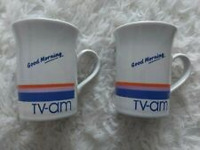 More details for tv-am x2 vintage collectable mugs coloroll kilncraft england used one chipped