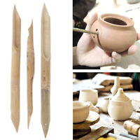 3pcs Bamboo Puncher DIY Pottery Ceramics Clay Sculpture Carving Tool Hole PuncR#
