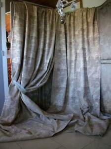 "Pair Quality Silk  Brocade Vintage Curtains  105"" long"