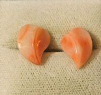 Genuine Angel Skin Coral Leaf Heart 14k Gold Stud Earrings 7e 6