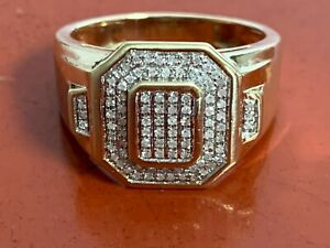 Mens 10K Yellow Gold Diamond Cluster Ring  Size 10