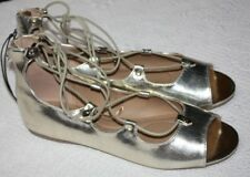 Lane Bryant Shiny Gold Open Toe Shoes Back Zip Gladiator Strappy Sandal 12 Wide