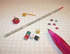 Miniature Sewing Doo-Dads: Pin Cushion, Threads, Etc. DOLLHOUSE Miniatures 1/12