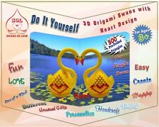 DIY 3D Origami Swan Kits With Heart Designs - 500 Pre-folded Triangles