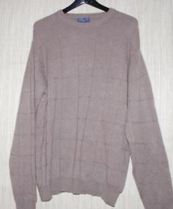 Joseph & Lyman Cashmere Brown Beige Crew Neck Man's Sweater Pullover Size:XL
