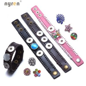 PU Leather Snap Charms Bracelet Fit 18mm Snap Button Jewelry Snaps Jewelry 0492
