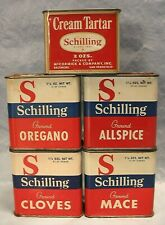5 SCHILLING McCORMICK TIN CANISTER SEASONING SPICE CONTAINERS ONE COPYRIGHT 1950