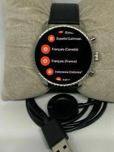 Fossil Explorist HR Gen 4 FTW4015 Men's Black Leather Digital Smart watch rare